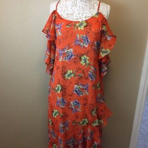 Adelyn Rae Women;s Dress   Orange  Floral   Maxi